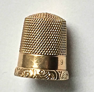 Vintage 10K Solid Gold Thimble Simons Brothers ~Scroll Design  Signed