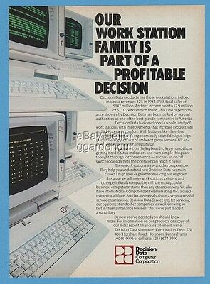 1985 Decision Data Vintage Computer Photo Green Screen Great Era Ad