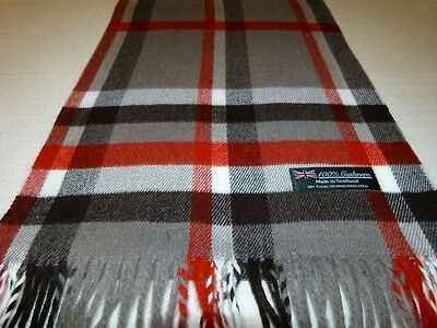 100% Cashmere Scarf 72X12 Grey White Black Check Plaid Scotland Wool Men K19