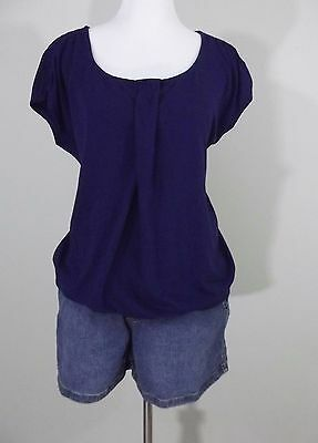 MATERNITY Outfit ~ Old Navy Maternity Blue Top & Jean Shorts ~ Size Large