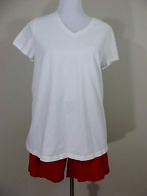 MATERNITY Outfit ~ Shorts & V Neck Shirt ~ Size Large ~ LIZ LANGE White/Coral