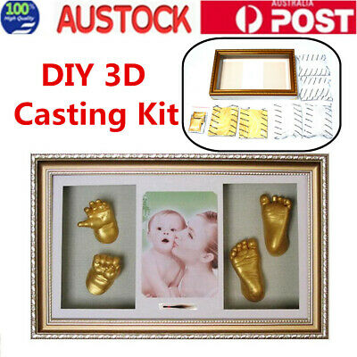 3D Baby Hand & Foot Casting Kit Keepsake Gift W/ Golden Shadowbox Photo Frame