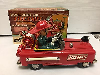 Vintage Metal Mystery Action Fire Chief Car And Original Box, (Japan)  552-I