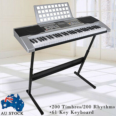 New 61 Keys Electronic keyboard Electric Piano with Stand Power Adaptor