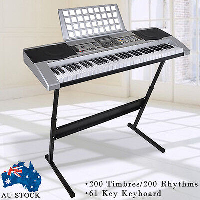 New 61 Keys Electronic keyboard USB Electric Piano with Stand Power Adaptor
