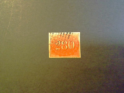 """Brazil 1861 """"Coloridos"""" Imperf 280r Red used/ Nice 4 x Borders CV $110 US Superb"""