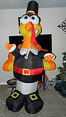 8 Ft Gemmy Airblown Inflatable THANKSGIVING Yard Blow Up PILGRIM TURKEY w Lights
