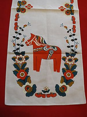 Vintage unused RUNNER Dresser scarf   Sweden Stildukar Tag still attachd Horse