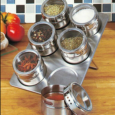 Magnetic Spice 6 Jars Set Rack Stainless Steel Containers Organizer Storage New