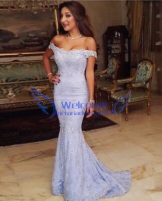 Off The Shoulder Lace Evening Prom Dress Mermaid Celebrity Party Formal Gowns