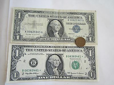 2 Bills Of 1 Blue Seal $1(SC), 1 Star *$1 & 1 Old One Cent USA Coin, SALE 3/LOT!