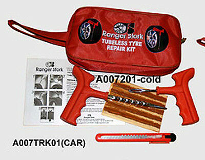 Car Van Tubeless Tyre Tire Puncture Repair Kit With  Full Kit 10 Strips