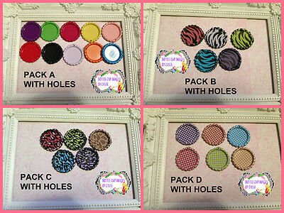 50 Coloured plain 1 inch Flattened bottle caps with holes