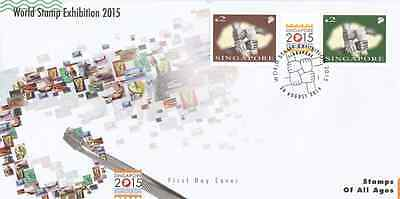 SINGAPORE - 2014 - FDC: World Stamp Exhibition 2015. 2v
