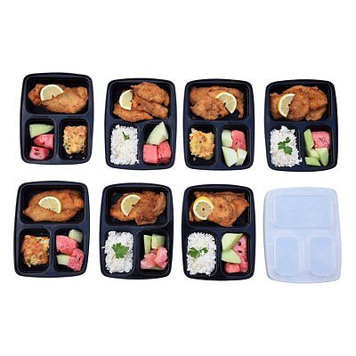 5/10 Pcs 3 Compartment Food Storage Containers With Lids Bento Lunchbox BX
