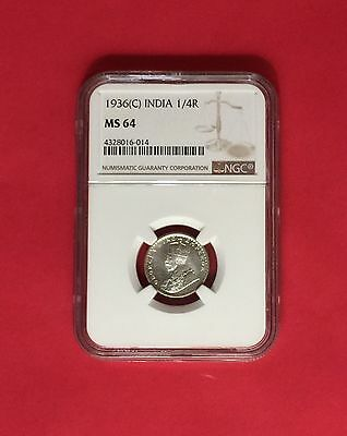India -Uncirculated 1936(C) Silver 1/4 Rupee  Ngc Ms64.