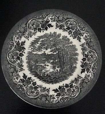 "Queen's English Scenes 8 1/8"" Plate Made In Malaysia Black White China"