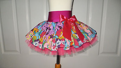 NEW HANDMADE CHILDS PACKED MY LITTLE PONY PINK TUTU SKIRT DANCE PARTY 6 - 8 yrs