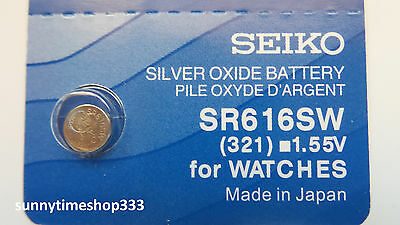 SR616SW/321 Seiko Watch Battery, Made in Japan, Silver Oxide, 1.55V
