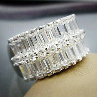 New 925 Silver Filled White Sapphire Birthstone Engagement Wedding Ring 6-10
