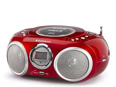 Luxus Tragbares Stereoradio Top Loading Cd Player Mp3 Usb Port Lcd Anzeige Rot