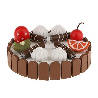 Magnetic Food Group Wooden Kitchen Role Play Educational Toy Birthday Cake
