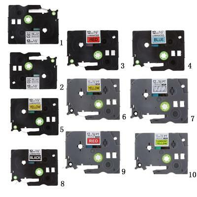 Colorful 12mm Laminated Label Tape for Brother P-touch Tze Printer