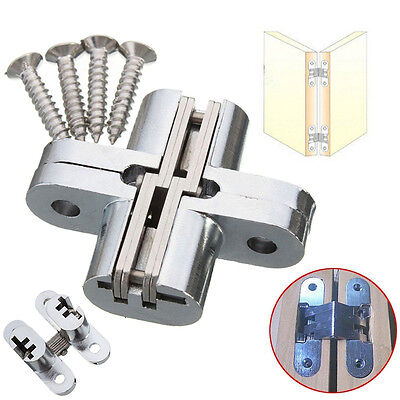 2PCS Hidden Hinge Stainless Steel Invisible Hinges Concealed Barrel Wooden Box