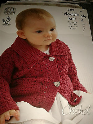 King Cole Crochet  Baby Dk  Pattern 3479  Cardigan And Jumper