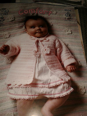 King Cole Crochet  Baby Dk  Pattern 3016  Cardigan And Blanket