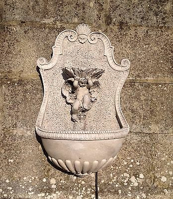 Stone Cherub Waterfall Wall Mounted Water Feature/Fountain - With fitted pump