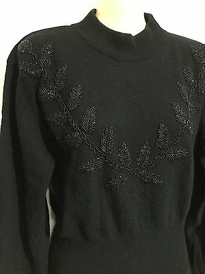 VINTAGE Black LAMBSWOOL fitted 50s/80s Style Batwing Beaded Leaf Jumper 10-12