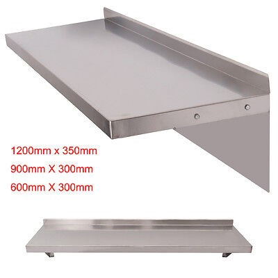 600/900/1200mm Stainless Steel Wall Shelf Kitchen Rack Shelves w/ Brackets