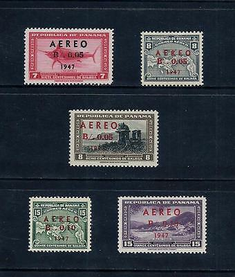 PANAMA _ 1947 'AIR' Optd. & SURCH. SET of 5 _ mh ____(456)