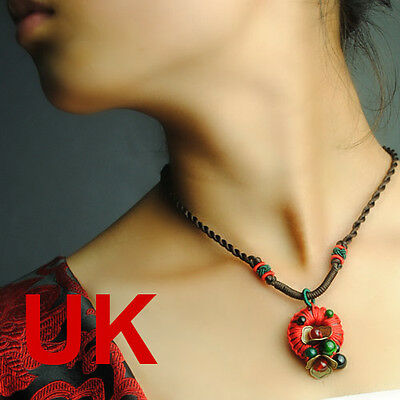 red circle & copper flower pendant/ necklace UK
