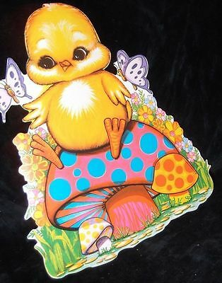 Vtg EASTER Chick Flower Hippie Psychedelic Mushroom Paper Decoration Beistle