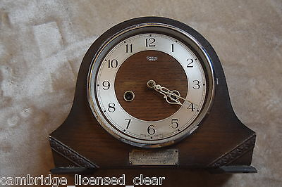 vintage Smith enfield wooden mantel piece carriage clock untested chiming