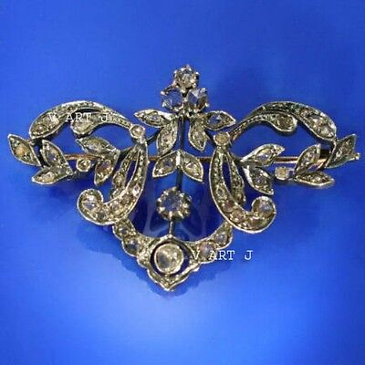Victorian Style  1.90ct Rose Cut Diamond .925 Sterling Silver  Brooch