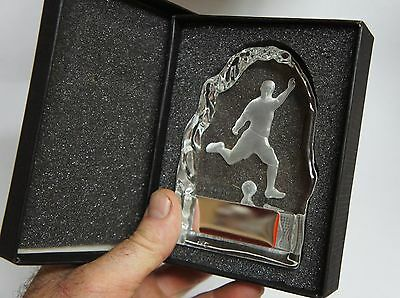 1 X SOCCER CRYSTAL TROPHY,MEDAL, IN PRESENTATION BOX 110mm High, FREE ENGRAVING