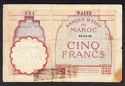 Morocco 5 Francs 1941  Very Poor P.23A,   Banknotes, Circulated