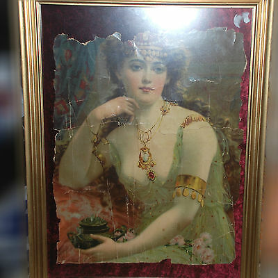 Vintage Antique Nobel Beautiful Girl / Lady Picture Frame - Stick on Red Velvet