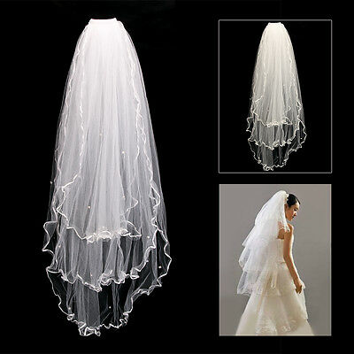 3 Layers Bride Elbow Beaded Edge Pearl White&Ivory Bridal Wedding Veil with Comb