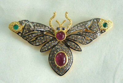 Vintage 2.28ct Rose Cut Diamond .925 Sterling Silver Butterfly Style Brooch