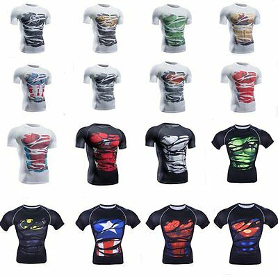 3D Black Avengers Superhero Compression Marvel Men's T-shirts Gym Cycling Jersey
