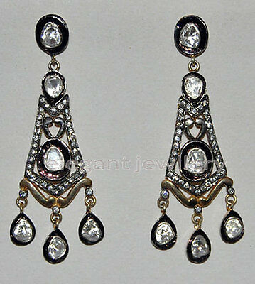 Victorian 4.60ct Rose/Antique Cut Diamond .925 Sterling Silver Nice Earring