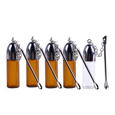 5x Glass Snuff Bottle with Metal Spoon Snorting Snorter Bullet Container Vial
