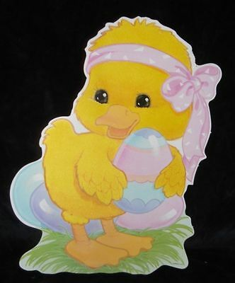 Vtg EASTER CHICK EGG pink Bow Paper Decoration Eureka Diecut Fuzzy Wuzzy Flocked