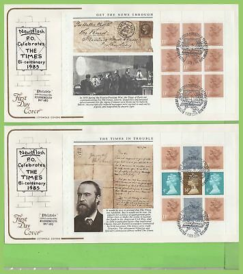 G.B. 1985 Times booklet pane set on Cotswold First Day Covers (4), Bureau