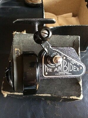 A RARE 1st MODEL VINTAGE BOXED J W YOUNG AMBIDEX  REEL