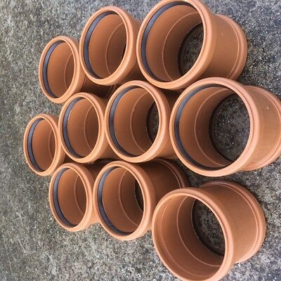 10 X UNDERGROUND DRAINAGE DOUBLE SOCKET STRAIGHT COUPLER 110mm COUPLINGS